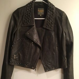 Madewell Gray Leather Moto Jacket w Metal Detail
